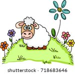 sheep standing in a field with... | Shutterstock .eps vector #718683646