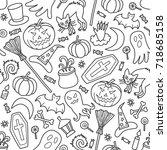 halloween. seamless pattern in... | Shutterstock .eps vector #718685158