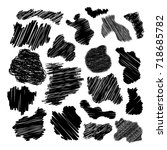 black and white painted spots... | Shutterstock .eps vector #718685782