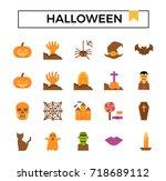 halloween icon set  flat design.   Shutterstock .eps vector #718689112