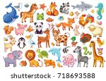 Big vector set of animals. Collection of cute animals in cartoon style. Panda, penguin, lion, giraffe, elephant, turkey, fox, whale, zebra, dolphin, octopus, owl.