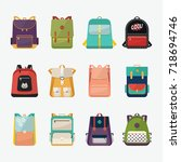 set of kid rucksack or children ... | Shutterstock .eps vector #718694746