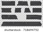 torn adhesive bandage or ripped ... | Shutterstock .eps vector #718694752