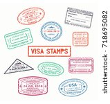 set of isolated visa passport... | Shutterstock .eps vector #718695082