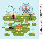 circus or amusement park map... | Shutterstock .eps vector #718695115
