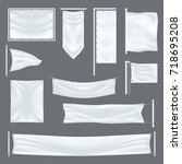 blank or empty fabric template...   Shutterstock .eps vector #718695208