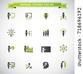 business training icon set | Shutterstock .eps vector #718696192