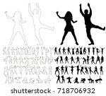 silhouette  sketch people... | Shutterstock .eps vector #718706932