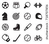 sport icons. black flat design. ... | Shutterstock .eps vector #718707856