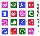 sport icons. white flat design... | Shutterstock .eps vector #718707862