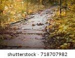 Stone Stairway In An Autumn...