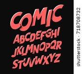 comics style font vector... | Shutterstock .eps vector #718708732