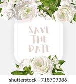 vector white peonies frame... | Shutterstock .eps vector #718709386