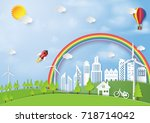 green energy and eco friendly... | Shutterstock .eps vector #718714042