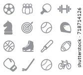 sport icons. gray flat design.... | Shutterstock .eps vector #718714126