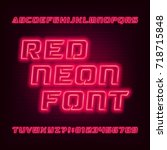 red neon tube alphabet font.... | Shutterstock .eps vector #718715848