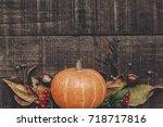 halloween  or thanksgiving...   Shutterstock . vector #718717816