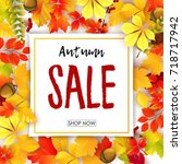 sale banner with autumn leaves | Shutterstock . vector #718717942