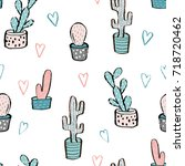 cactus seamless pattern. trendy ... | Shutterstock .eps vector #718720462