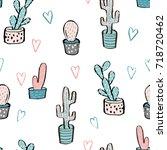 cactus seamless pattern. trendy ... | Shutterstock .eps vector #718720462