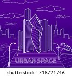 futuristic city illustration.... | Shutterstock .eps vector #718721746