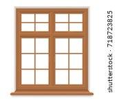 traditional wooden window... | Shutterstock .eps vector #718723825