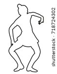 vector  sketch girl dancing ... | Shutterstock .eps vector #718724302