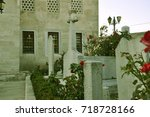 Small photo of Red roses and Ottoman tombstones at Semsi Pasha Mosque's garden / Uskudar, Istanbul, Turkey