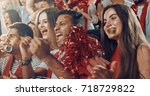 group of fans cheer for their... | Shutterstock . vector #718729822