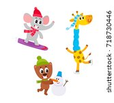 cute animal characters doing... | Shutterstock .eps vector #718730446