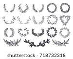 set of vector elements. hand... | Shutterstock .eps vector #718732318