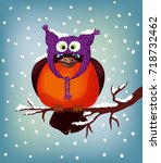 bullfinch on a branch. vector... | Shutterstock .eps vector #718732462