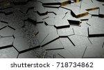 abstract black fractured... | Shutterstock . vector #718734862