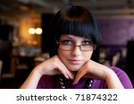 girl in cafe face portrait - stock photo