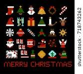 set of vector pixel art... | Shutterstock .eps vector #718743262