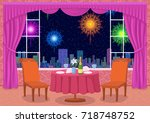 restaurant background with... | Shutterstock . vector #718748752
