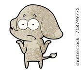cartoon unsure elephant   Shutterstock .eps vector #718749772