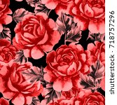 rose seamless pattern.... | Shutterstock . vector #718757296