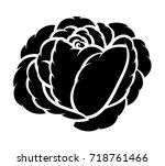 flower rose  black and white.... | Shutterstock .eps vector #718761466
