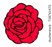 red rose isolated on white... | Shutterstock .eps vector #718761472