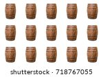 old natural barrels of... | Shutterstock . vector #718767055