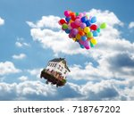 Balloons House Flies Above Clouds - Fine Art prints