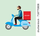 delivery man send order with... | Shutterstock .eps vector #718770808