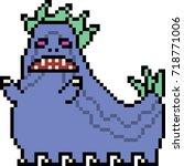 vector pixel art monster... | Shutterstock .eps vector #718771006