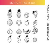 fruit line icon set black and...   Shutterstock .eps vector #718774432