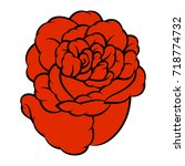 red rose isolated on white... | Shutterstock .eps vector #718774732