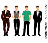 collection. men's clothing.... | Shutterstock .eps vector #718778722