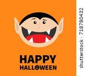 happy halloween pumpkin text.... | Shutterstock .eps vector #718780432