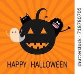 happy halloween. smiling... | Shutterstock .eps vector #718780705