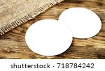 two blank beer coasters on... | Shutterstock . vector #718784242